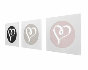 Artwork Set Hearts Picture Frame isolated on White