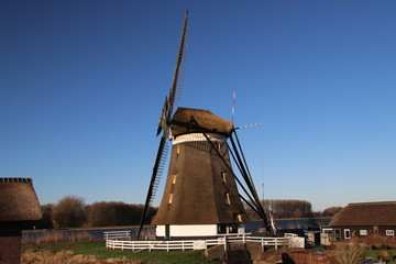 The upper windmill of the molenviergang tweemanspolder in Zevenhuizen the Netherlands