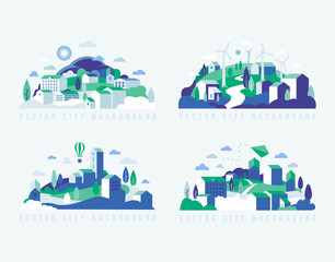 City landscape with buildings, hills and trees. Vector illustration in minimal geometric flat style.