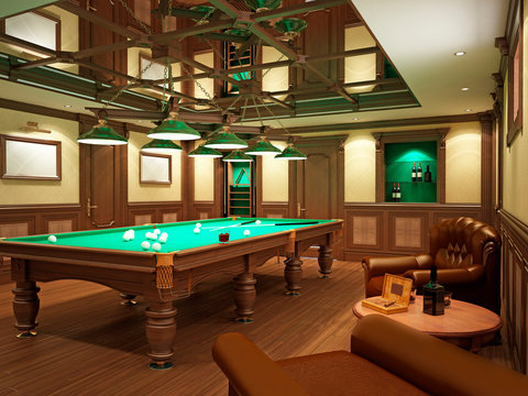 Billiard room in classical style with wooden decoration.