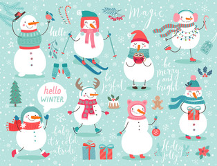 Wall Mural - Christmas set with cute snowmen.