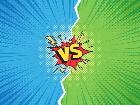 Comic frame VS. Versus duel battle or team challenge confrontation cartoon comics halftone background illustration vector template
