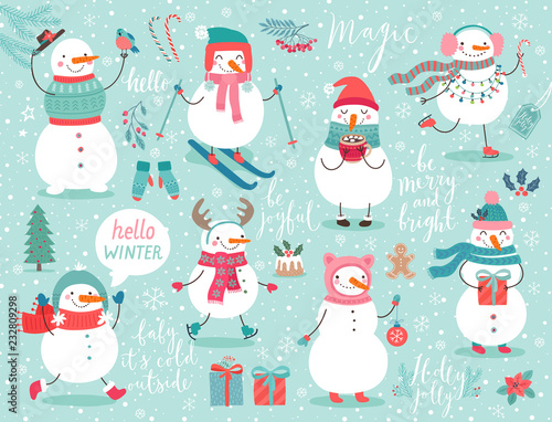 Wall mural Christmas set with cute snowmen.