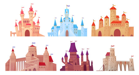 Medieval castle towers. Fairytail mansion exterior, king fortress castles and fortified palace with gate cartoon vector set Fototapete