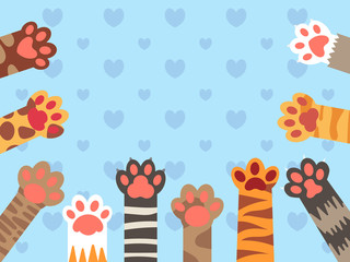 Cat paws. Cute kitten paw, cats claws and funny domestic pets vector background illustration