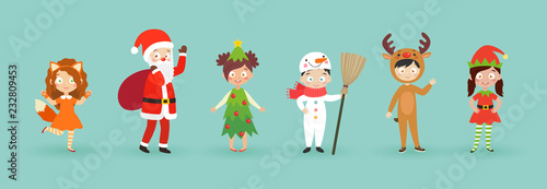 Wall mural Kids wearing Christmas costumes.