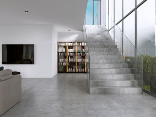 Library shelves with books in the contemporary room and large windows, under the stairs.