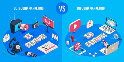 Outbound and inbound marketing. Isometric market advertising generations, online markets sales magnet and ads megaphone vector concept