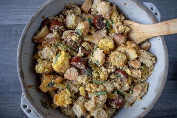 Thanksgiving stuffing ingredients in pan for baking