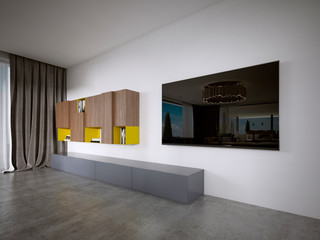 TV unit in a modern style in brown and yellow colors.