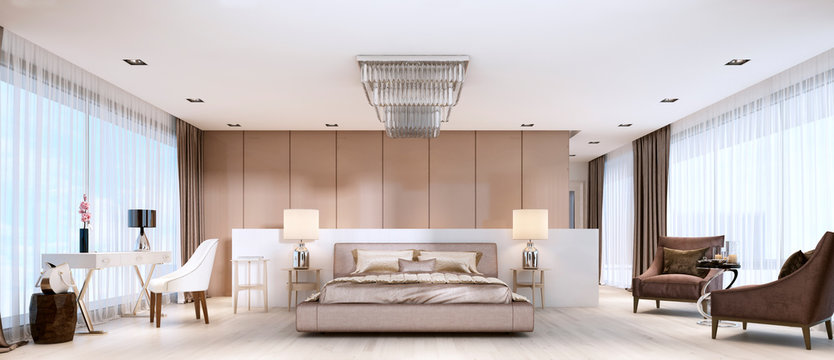 Luxurious modern master bedroom in light colors in pastel colors.