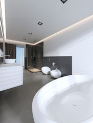 Contemporary bathroom with shower and bath in white and gray colors.