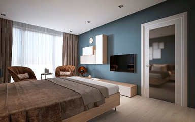 Modern bedroom in dark colors.