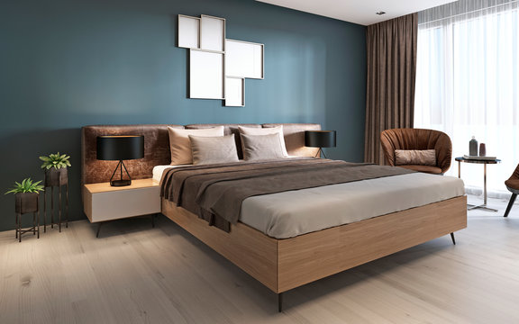 Contemporary bedroom with dark blue walls and light furniture and two brown chairs.