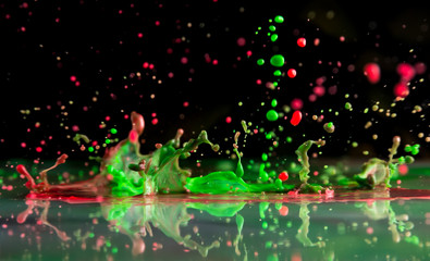 Bursts and splashes from falling paints of different colors