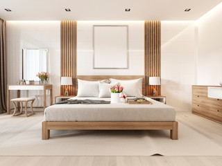 Modern light bedroom with wooden furniture in Scandinavian style.