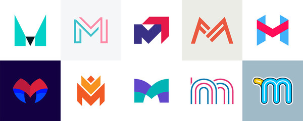Set of letter M logo. Icon design. Template elements - Collection of vector sign