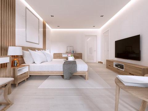Modern light bedroom with wooden furniture in Scandinavian style.