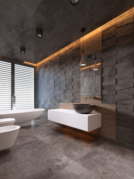 Contemporary bathroom in dark tones with ceiling lighting.