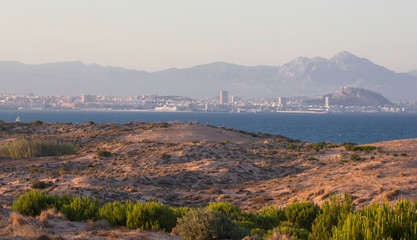 Sea coast in Los arenales del sol, near Alicatne city, Spain