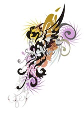 Abstract splattered colorful eagle symbol. Floral eagle splashes in grunge style isolated on a white backdrop