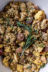 Thanksgiving stuffing ingredients in pan for baking