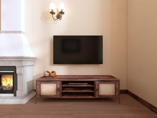 A wooden TV unit by the fireplace.