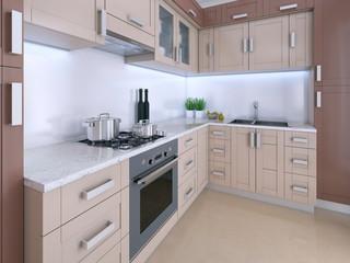 Modern light kitchen in Scandinavian style.