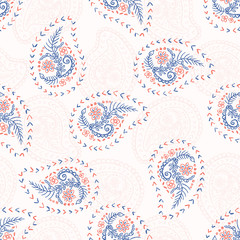 1950s Style Retro Daisy Paisley Seamless Vector Pattern. Folk Ethnic Flower Embroidery Motif. Hand Drawn Textile Prints for Trendy Fashion, Packaging, Scandi Clothing, Stationery. Vintage Red Blue