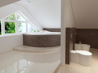 Bathroom in Contemporary style in brown and white colors.