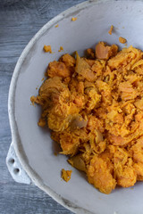 Mashed sweet potatos in bowl
