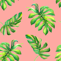 Watercolor tropical leaves on pink background. Seamless exotic pattern with green foliage design. Decor or wallpaper print, fabric, summer textile, botanical postcard, natural lush palm wrapping paper