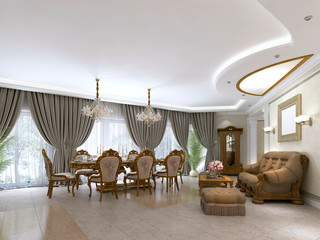 A modern classic living room in an art deco style with a dining table and views of the kitchen and the foyer.