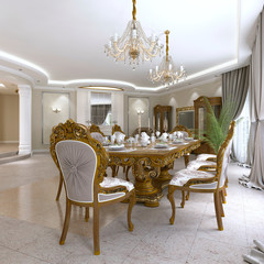 Modern classic dining table in a luxurious baroque living room with serving.
