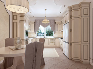 Luxurious modern kitchen in classic style in white colors with a dining table for four people.