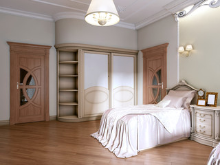 Luxurious bedroom with two single beds in a classic style. With a bookcase, working and dressing table.