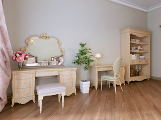 Furniture in the bedroom, bookcase, work and dressing table.