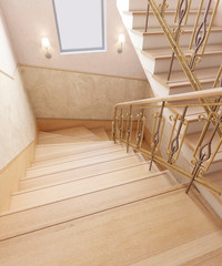 Staircase in the interior of a private house in a classic design. Wooden steps with gilded forged rails. 3D rendering.