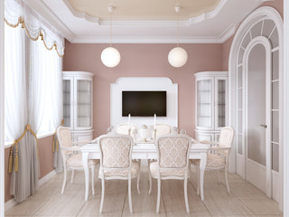 Dining room with white table and chairs for six people with two sideboards and a TV.