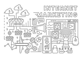 Internet Marketing Line Art Concept Design. Flat Doodle Style Illustration. Technology And Marketing Objects