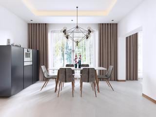 Dining room in Contemporary style with modern chairs and a table by the large window.