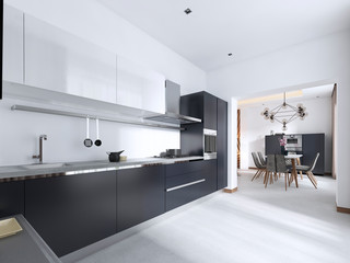Luxurious Contemporary kitchen with gray matte furniture in white interior.