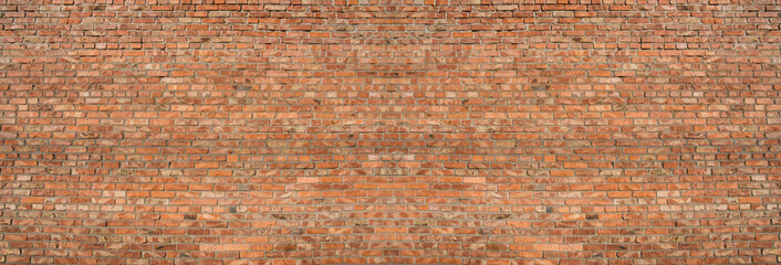 Background of old vintage red brick wall, texture.