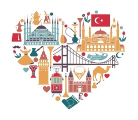 Traditional tourist symbols of Turkey in the form of heart