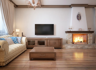 Living room in a rustic style with soft furniture and a large fireplace with classic elements.