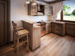 Kitchen rustic style with a dining table and wooden furniture.