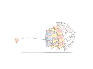 Flying umbrellas on a white background with shadow. Umbrellas inside another umbrellas. Umbrella jellyfish. Vector illustration. Greeting card.