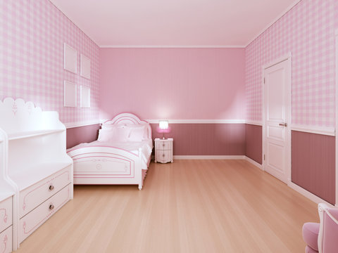 Children's room for girls in classic style in light pink colors and white furniture.