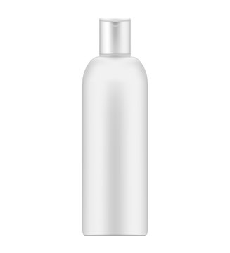 White cosmetic bottle - packaging container with flip cap, mockup