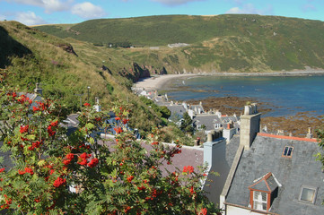 View over Seatown and Gamrie Bay, Scotland
